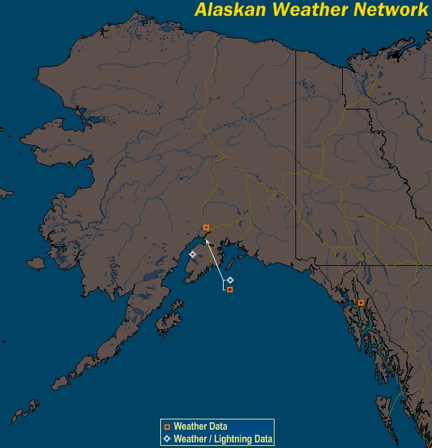 Mesomap of Alaska Weather Network Stations